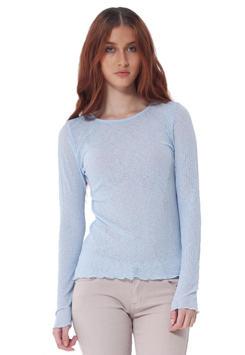 5b6ec10639eea Camiseta Manga Larga De Mujer Aishop Af173-1102-552 Azul - Bs. 3.770 ...