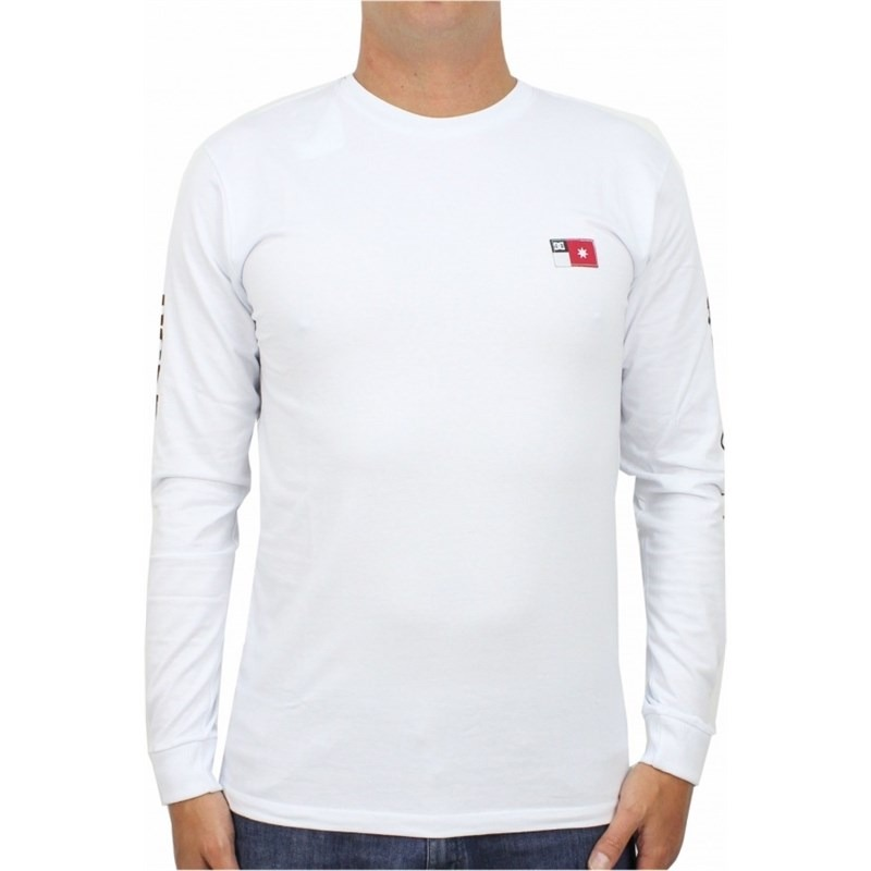Camiseta Dc Shoes New Sleever Manga Longa Branca - R  76 b4972c70ac51a