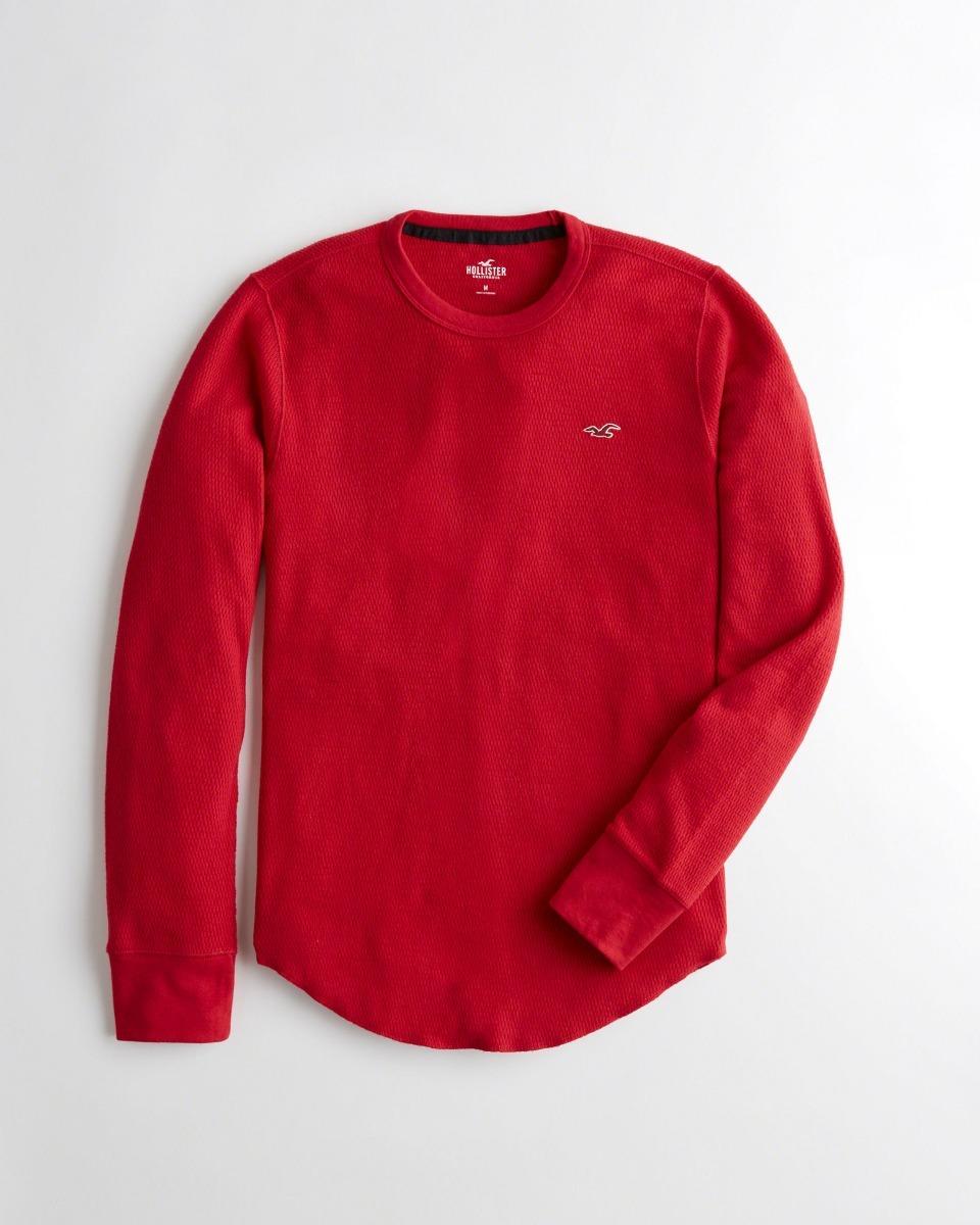 1408cc1503 Camiseta Hollister Masculina Azul Vermelha Manga Longa M - R  189