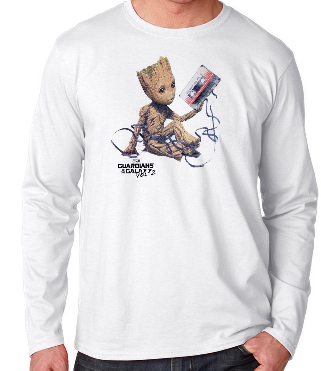 90f5b89549 Camiseta Manga Longa Blusa Frio Guardiões Galáxia Groot Fita - R  39 ...