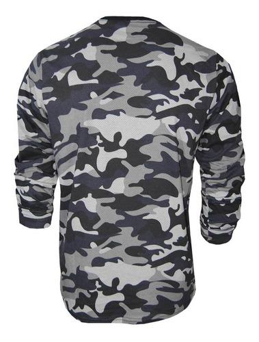 camiseta manga longa camuflada