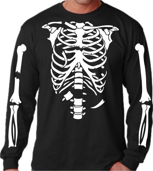 Camiseta Manga Longa Esqueleto Quebrado Costela Osso Terror - R  50 ... 86cd7f98c66