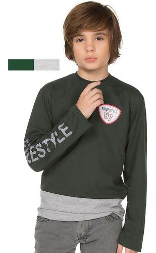 camiseta manga longa infantil menino 100% algodão inverno