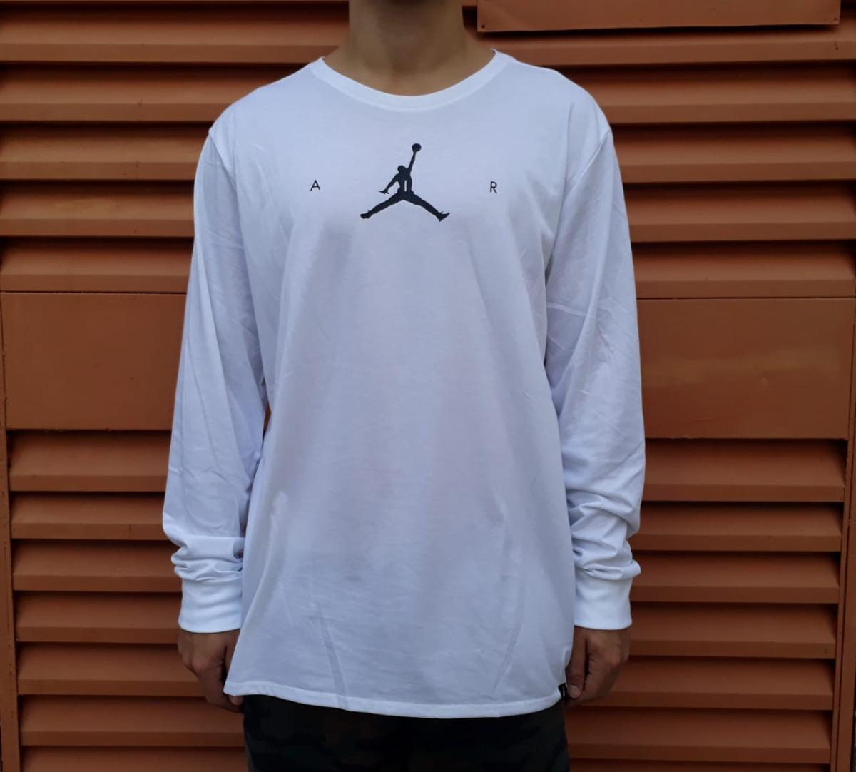 camiseta manga longa nike air jordan jumpman brancooriginal. Carregando  zoom. 54ba558665ab1