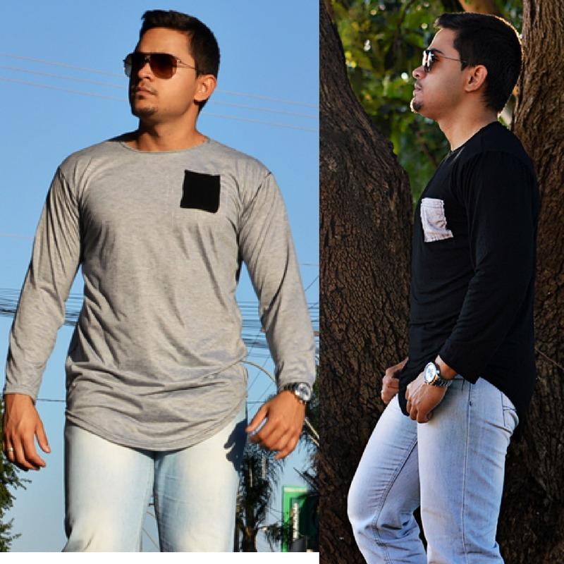 41092d240 camiseta manga longa oversized swag longline masculina. Carregando zoom.