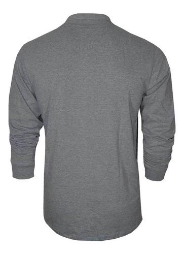 camiseta manga longa polo com bolso