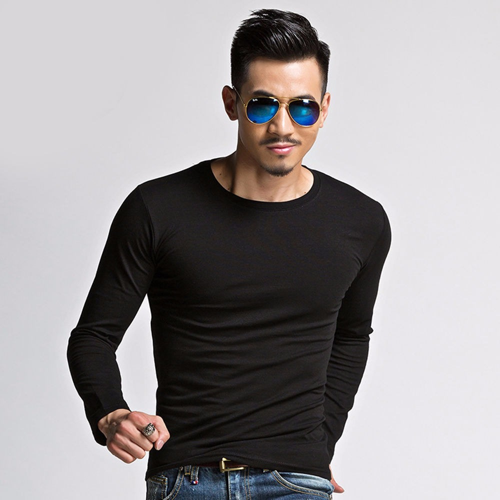 camiseta manga longa slim fit manga comprida masculina preta. Carregando  zoom. f60e64e0a02c4