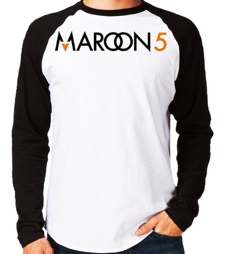 camiseta maroon 5 five pop rock banda raglan manga longa