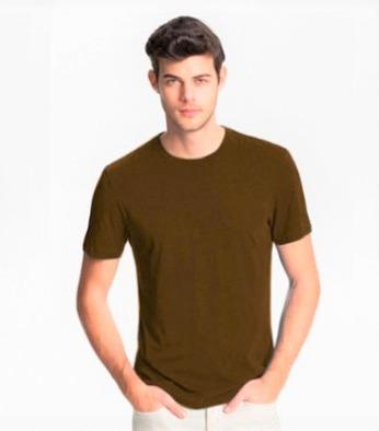 6db90577dd Camiseta Marrom Chocolate Lisa Básica Sem Estampa Algodão - R  24