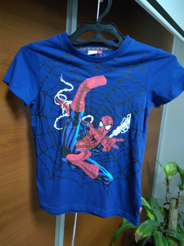 camiseta marvel spiderman azul talla 12 niño