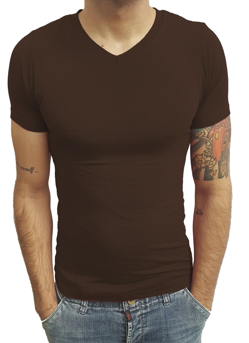 ad40b49dad camiseta masculina básica slim fit segunda pele v rasa mc. Carregando zoom.