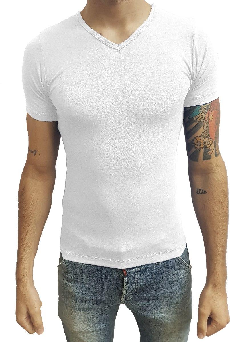 a8b091a2f2 camiseta masculina básica slim fit segunda pele v vies mc. Carregando zoom.