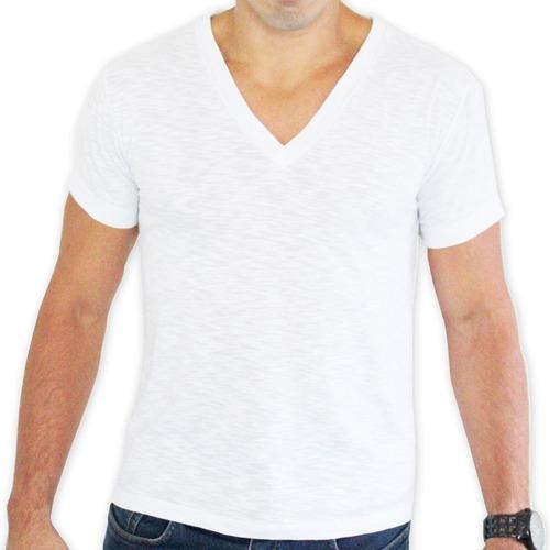 a0f72b76a6 Camiseta Masculina Decote V 100% Algodão - R  19