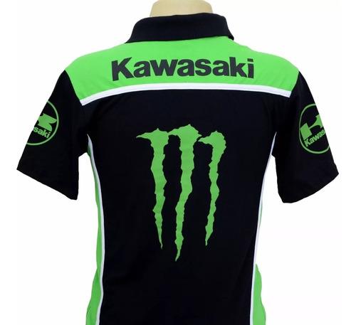 camiseta masculina esportiva gola polo moto kawasaki