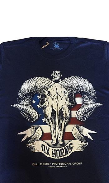 1604a791c9 Camiseta Masculina Estampa Bull Riders Azul Marinho Ox Horns - R  68 ...