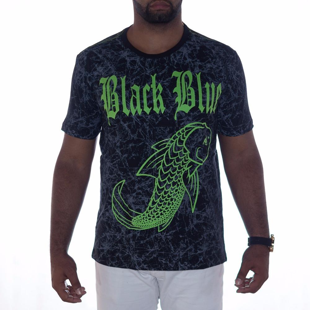 camiseta masculina estampada black blue preta com verde. Carregando zoom. 6e4200bd31a0e
