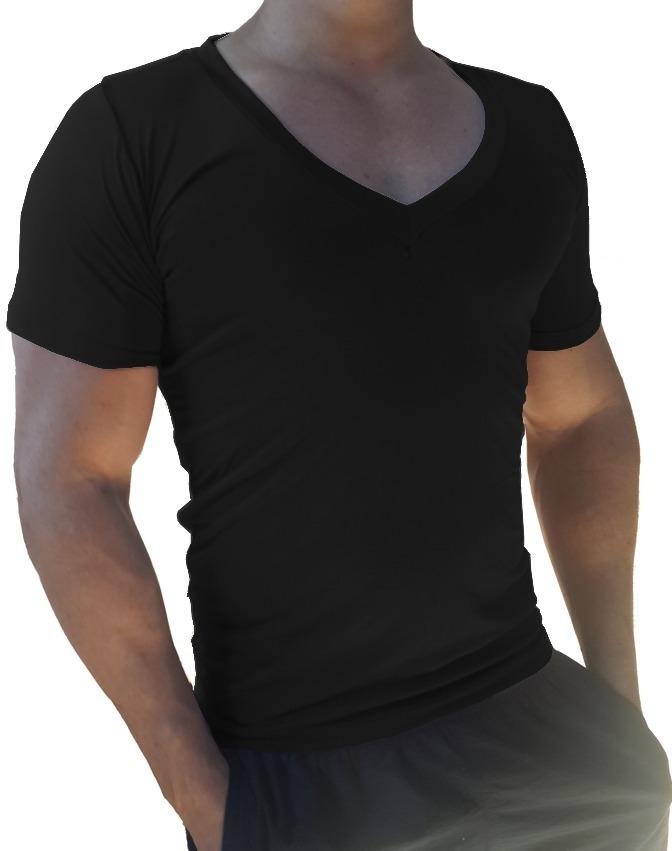 cb32f987e3 camiseta masculina gola v cavada slim viscose elastano preto. Carregando  zoom.