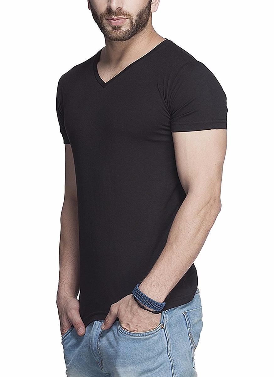 a2c4eddb50 camiseta masculina gola v preta branca cinza lisa algodao. Carregando zoom.
