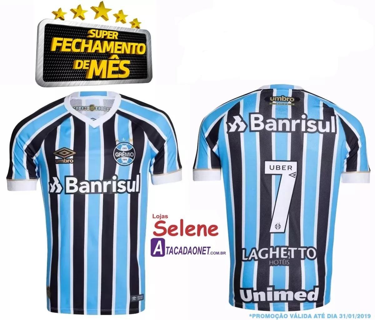 53bf2d784 Camiseta Masculina Grêmio Umbro Oficial I 2018 19 Com Número - R ...