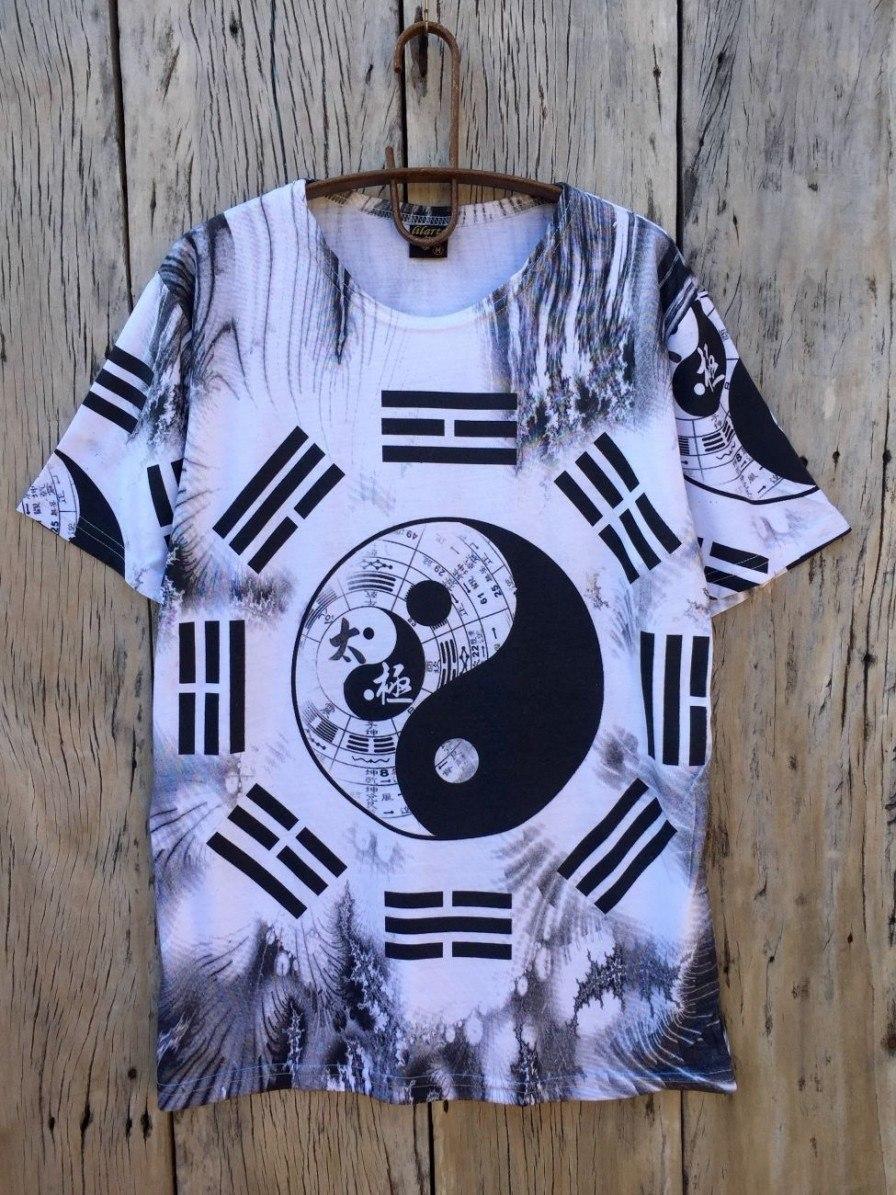 camiseta masculina indiana hippie yin yang tie-dye branca. Carregando zoom. d80685933ef9b