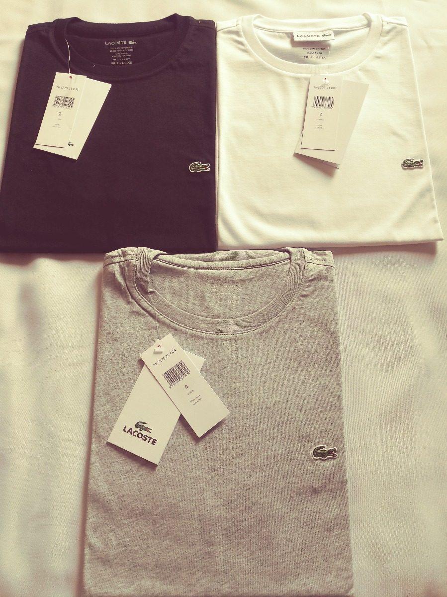 1fe45df2c9f7a camiseta masculina lacoste em algodão pima com gola redonda. Carregando  zoom.