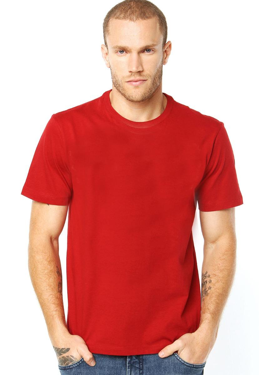 camiseta masculina lisa vermelha manga curta 100% algodão. Carregando zoom. 2eb8f877096