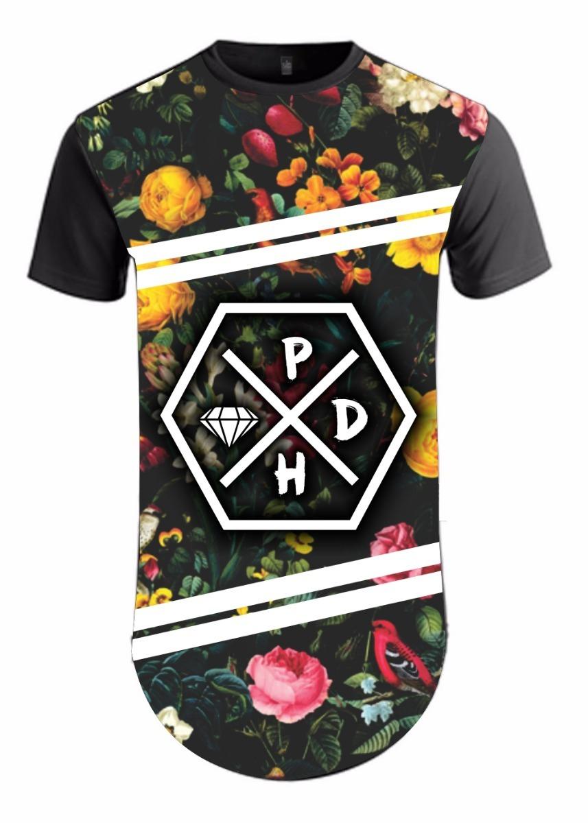 34b4d6890c camiseta masculina longline floral flores camisa tropical. Carregando zoom.
