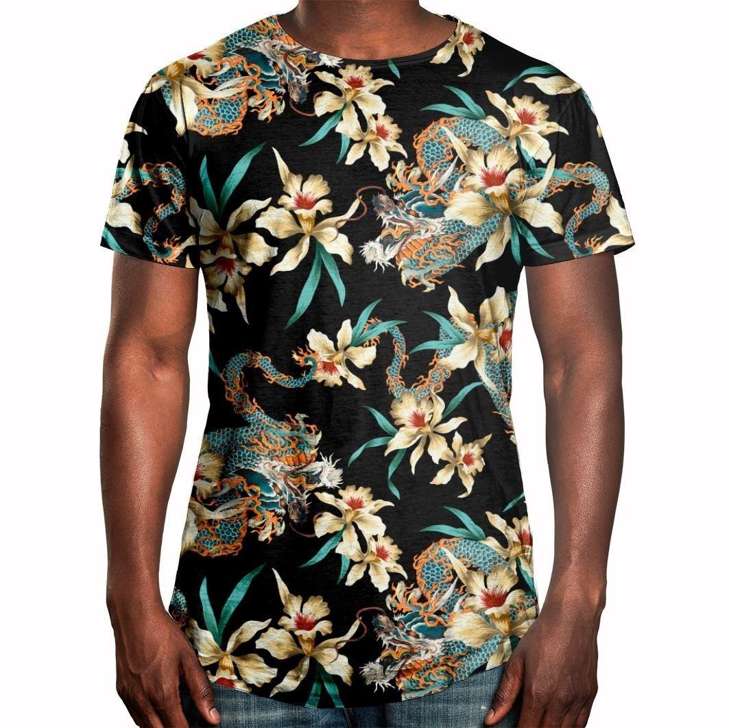 d8c99c458 Camiseta Masculina Longline Swag Flor E Dragão Chinês - R  62