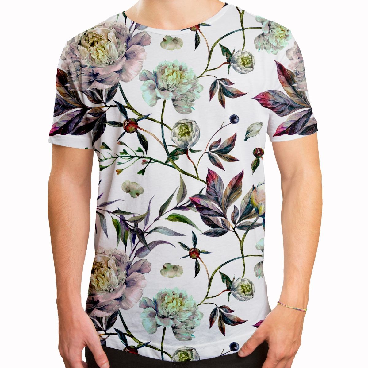 87f0ab133 camiseta masculina longline swag floral aquarela. Carregando zoom.
