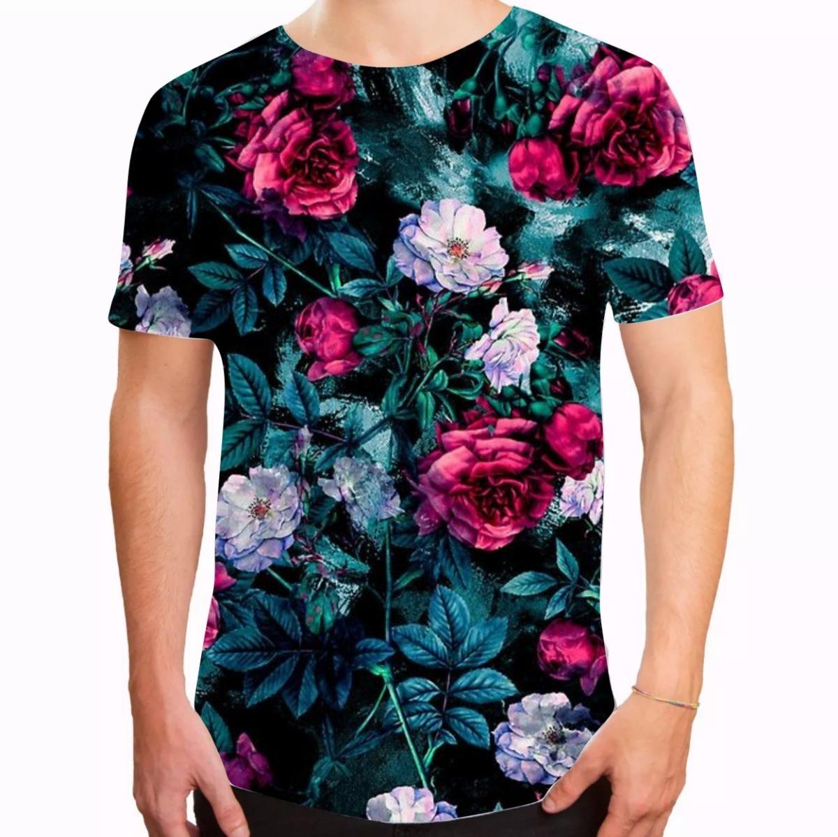 e019e0dbdc camiseta masculina longline swag floral moda 2018 florida. Carregando zoom.
