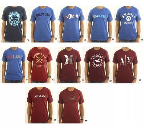 camiseta masculina marcas kit 10 peças. escolha as estampas