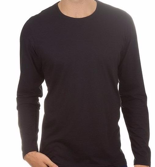 4be1ffa317 Camiseta Masculina Preta Lisa Manga Longa - R  29