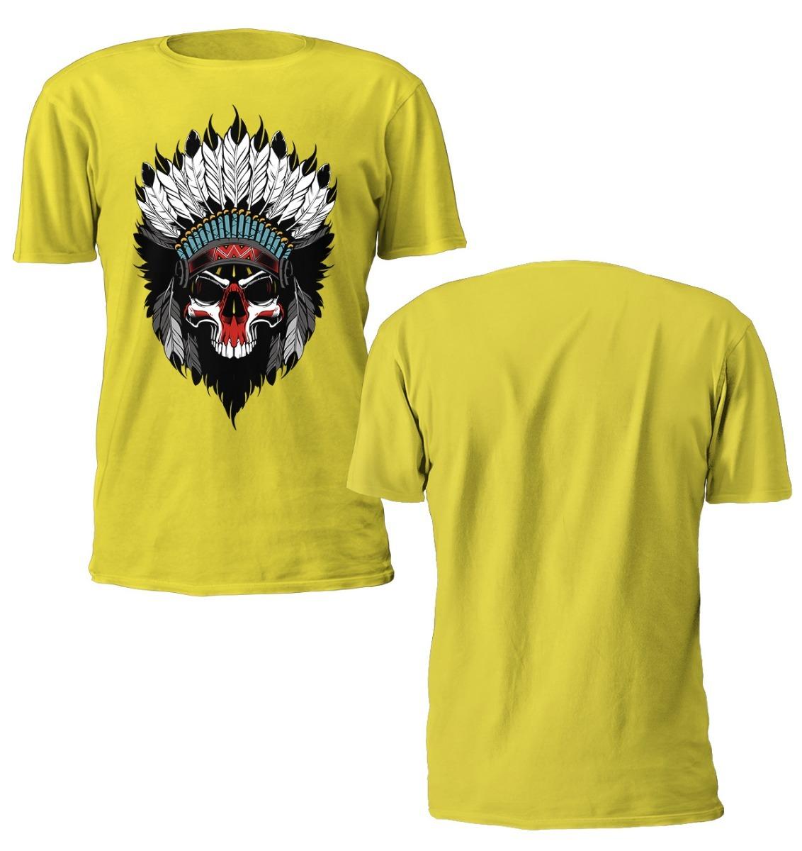59ced6f31 camiseta masculina skull caveira cocar indio manga curta. Carregando zoom.