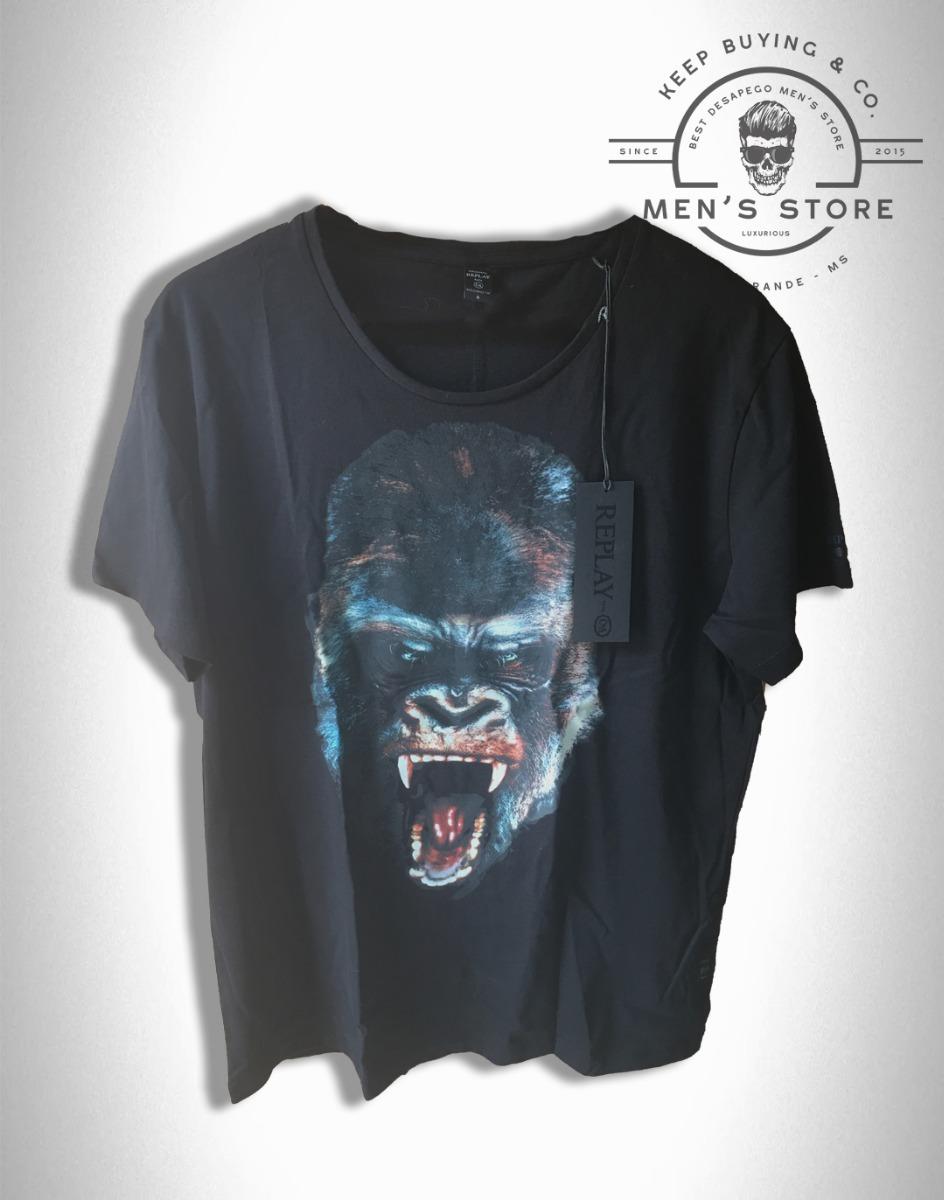 brand new b7078 dd84f Camiseta Masculino Preto Replay Italia By C&a