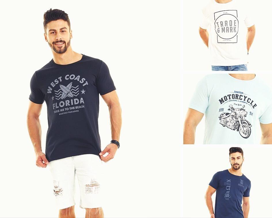 59a419b7aa Camiseta Masculino Slim Fit Estampada Kit 3 Pçs 12x S  Juros - R  79 ...