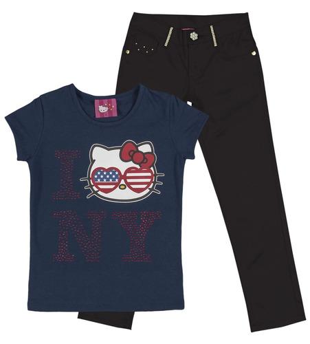 camiseta menina cotton  ny azul marinho e calça sarja preta