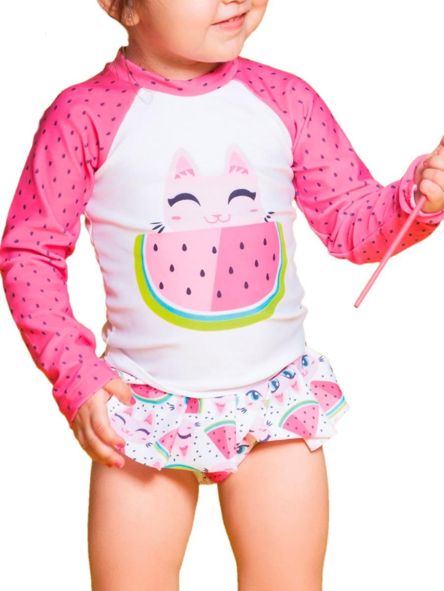 d510a1b06 Camiseta Menina Gatinha Rosa Melancia Ml Com Proteção Solar - R  77 ...