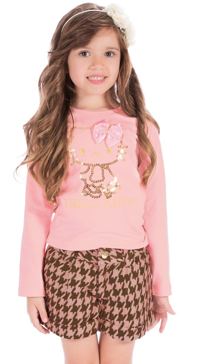 e75b252022 camiseta menina manga longa rosa e short xadrez hello kitty. Carregando  zoom.