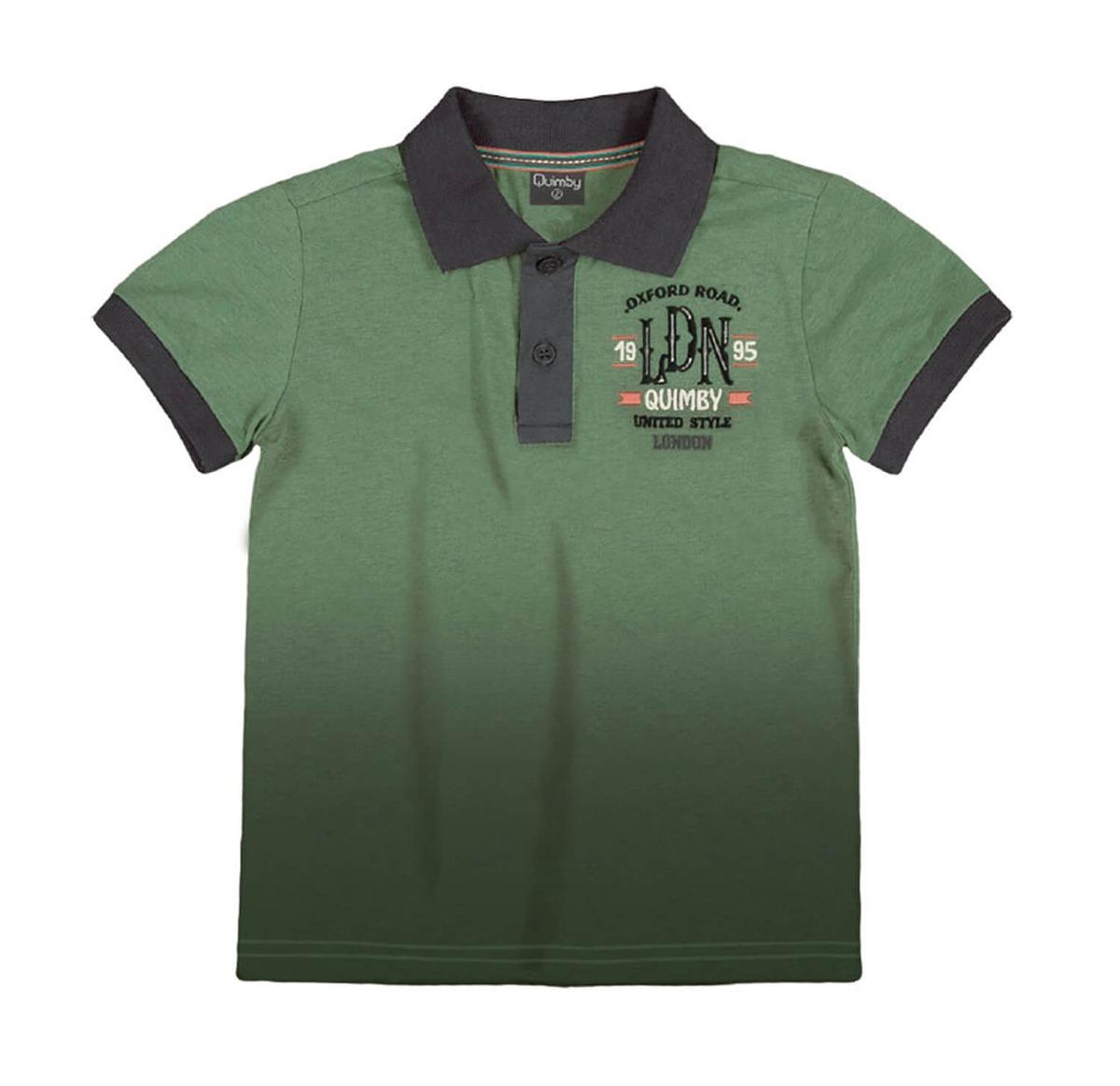 a5085a8d7e Camiseta Polo Menino Em Malha Degradê Verde Manga Curta Q - R  69