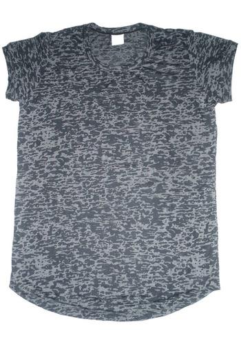 camiseta mesclada manga curta feminina - cinza - m; g; gg