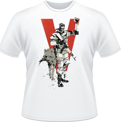 e8bf4639b35b8 Camiseta Metal Gear V Solid Snake Camiseta Masculina Branca - R  34 ...
