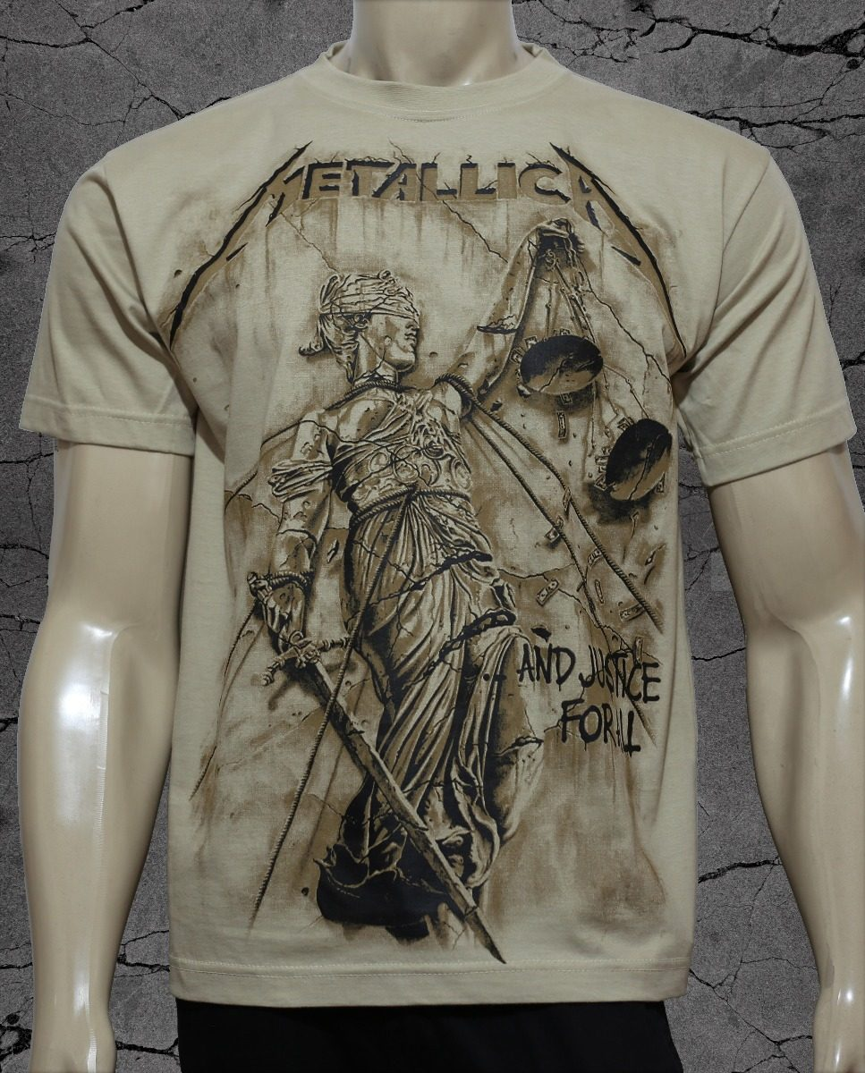 e43ffa39c3135 Camiseta Metallica - And Justice For All - Esp Malha Bege - R  55