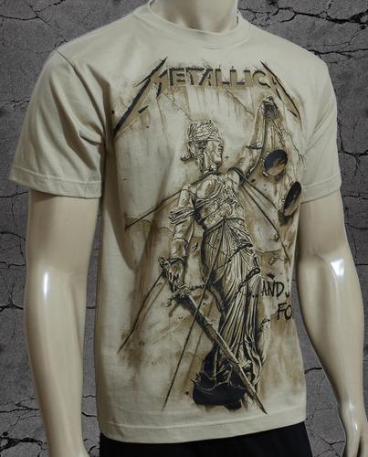 camiseta metallica - and justice for all - esp malha bege