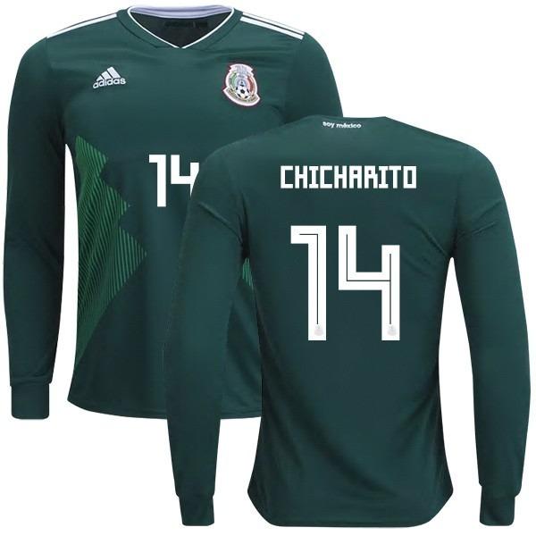 Camiseta México Manga Larga Mundial Chicharito Oficial -   1.490 b0b58954f6268