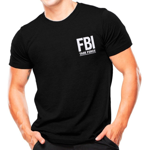 camiseta militar estampada f.b.i | preta - atack