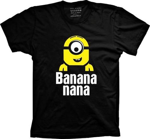 camiseta minions banana - infantil 06 ao 12 unissex amarelo