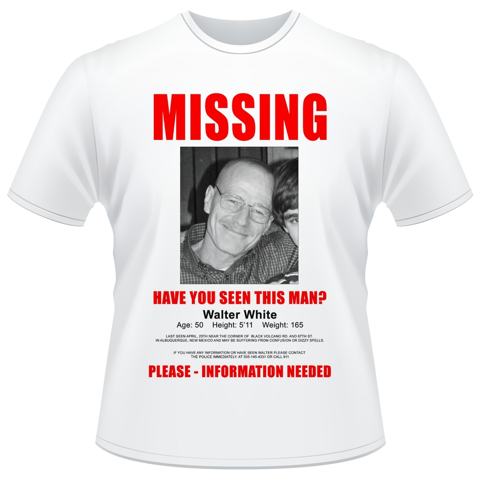 84af2ecce camiseta missing walter white breaking bad heisenberg. Carregando zoom.