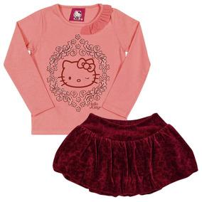 265fb842b1 Camiseta M l E Saia Balone Em Plush Rosa E Vinho Hello Kitty
