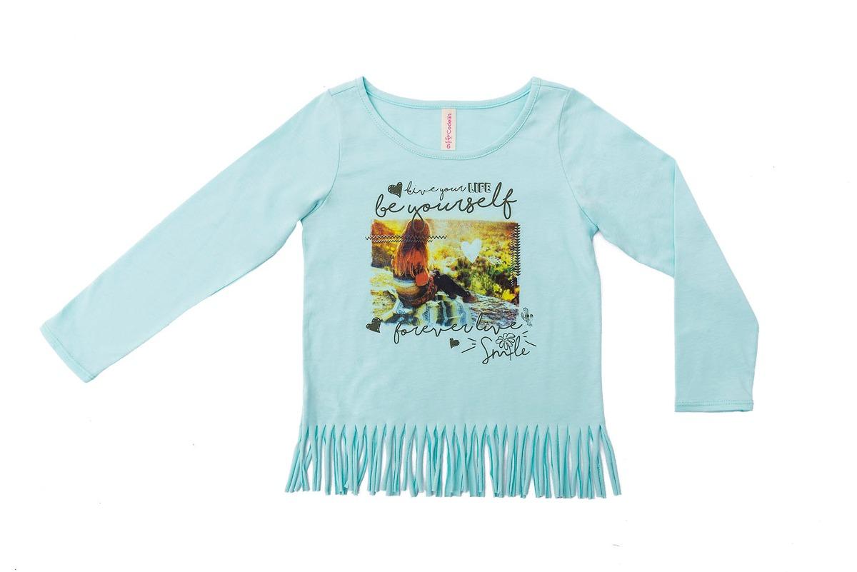 a7e2a27fd Camiseta M l Verde Menta Con Flecos Para Niña-12 -   33.915 en ...