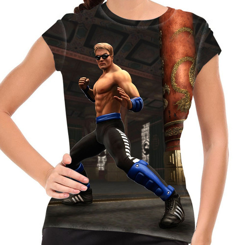 camiseta mortal kombat johnny cage baby look